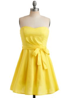 Zest is More Dress - Yellow, Solid, Bows, Wedding, Party, Casual, A-line, Strapless, Summer, Mid-length