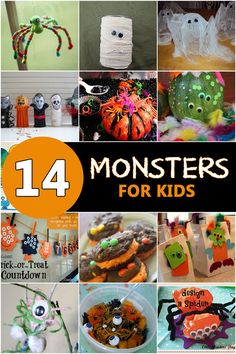 Make, create and play with these 15 Halloween monster crafts for kids! Kids will love the fun and spooky monsters for Halloween! Halloween Theme Preschool, Halloween Science, Halloween Activities For Kids, Theme Halloween, Halloween Carnival, Crafts For Kids To Make, Holidays Halloween, Spooky Halloween, Happy Halloween