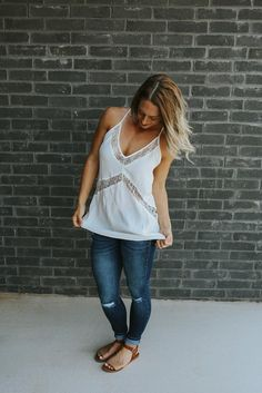 Happy Hour Tank - White Lace Tank Top - Anchored Hope Boutique