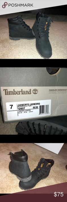 Black Timberland Boots Boys size 7. If you wear a women's 9 you can also fit these. Only worn twice Timberland Shoes Combat & Moto Boots
