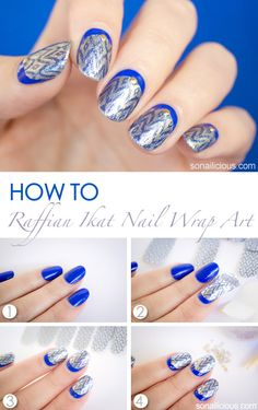 Easy Ruffian nails tutorial - with Incoco nail strips. #nailart #tutorial #nailarthowto