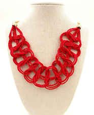 Lady Jewellery Statement Multi Strand Red Seed-bead Weave Chain Necklace #738