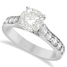 Moissanite Engagement Ring w/ Side Stone Accents 14K White Gold (1.60ctw)