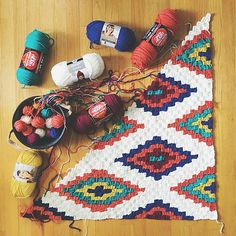 Ravelry: stephlewis2's Southwestern C2C afghan free crochet pattern. Would make great rug, pillow or table runner