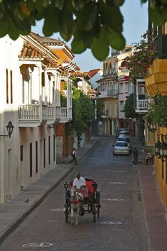 Typical street in the colonial town of Cartagena.  Cartagena, COLOMBIA