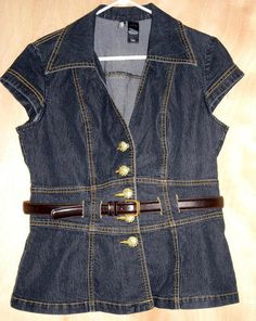 "SOLD! Bisou Bisou Denim Top with Mocha Coach Belt Size L Fits to 44""Bust Free Shipping Price:US $19.99"