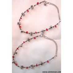 2 Anklets Red and Metal synthetic beads on a Black flexi-thread - Anklets by Store Utsav Fashion