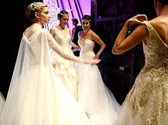 The Disney models work their magic backstage at the Alfred Angelo bridal show on Oct. 7 in NYC.