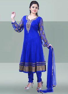 Striking Blue Net Anarkali Suit