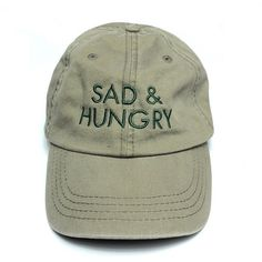 Sad And Hungry Cap in Wasabi Green 1st Class Living ($38) ❤ liked on Polyvore featuring accessories, hats, fillers, embroidery hats, cap hats, embroidered caps, embroidered hats and green hat