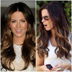 kate beckinsale balayage hair | Kate Beckinsale brunette and caramel highlights in layered hair