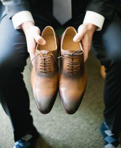 Brown Leather Lace-Ups | 9 Ridiculously Stylish Groom's Shoes | https://www.theknot.com/content/super-stylish-grooms-shoes