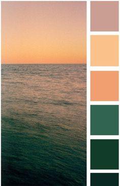 Sea tones: green, emerald and peach colour / color palette Nature Color Palette, Colour Pallette, Color Palate, Colour Schemes, Color Combos, Color Patterns, Sunset Color Palette, Color Palette Green, Soft Autumn Color Palette
