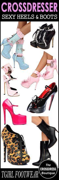 Sexy Crossdresser Footwear - Shoes, Heels and Boots. See the range here: http://www.crossdressboutique.com/tgirl/shoes-boots-hosiery/