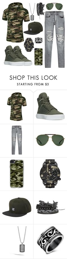 """Army style"" by marcellina3115 ❤ liked on Polyvore featuring Supra, AMIRI, Gucci, Casetify, Diesel, Billabong, BKE, John Hardy, men's fashion and menswear"