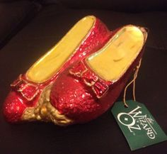 Kurt Adler Wizard Of Oz Glass Ruby Slippers Ornament