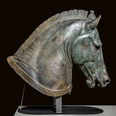 """Horse Head """"The Medici Riccardi Horse"""" About 350 B.C., Italian, Bronze and gold…"""