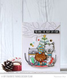 Cat-itude, Merry Christmoose, Stitched Speech Bubble Edges Die-namics--Yoonsun Hur  #mftstamps