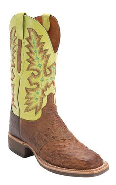 Lucchese Men's Barnwood Brown Full Quill Ostrich with Green Top Square Toe Western Boot
