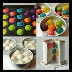 Here are 16 rainbow cake recipes and tutorial .These Rainbow cake ideas are so creative ! The colorful cakes would surely be a huge hit at any birthday party! It is ideal for a child's birthday party, or any time you want to make a big impression. Spotty Dotty Cake, Poka Dot Cake, Köstliche Desserts, Delicious Desserts, Yummy Treats, Sweet Treats, Cake Recipes, Dessert Recipes, Colorful Cakes