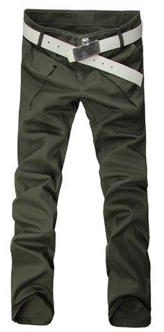 Men Fashion Big Pocket Korean Style Slim Casual Green Long Cotton Pants M/L/XL/XXL/XXXL@WH0114gr