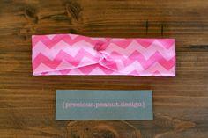 Turban Headband, Wide Band Headband - Pink-On-Pink Chevron Print Cotton Jersey Knit by PreciousPeanutDesign on Etsy