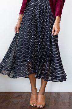 Midi Skirts for Women, Polka Dot Skirts, Women's Outfit Inspiration