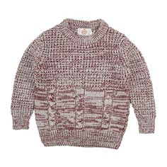 Cabled mixed color pullover.