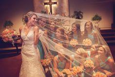 bride bridesmaids wedding party long veil photography by amanda whitley