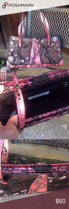 """New Kay Unger Pink Faux Snakeskin and Plum Handbag Pink faux snakeskin, abstract print, faux snakeskin straps, Kay Under lift mechanism closure, metal footrests to keep bag from damage. 11.5"""" wide 6"""" tall 2.5"""" bottom width strap drop 8"""" Kay Unger Bags"""