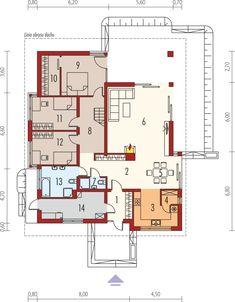 DOM.PL™ - Projekt domu AC Liv 3 CE - DOM AF2-79 - gotowy koszt budowy Indian House Plans, Best House Plans, House Layout Plans, House Layouts, Casa Octagonal, Architectural House Plans, Bungalow House Design, Indian Homes, Cool House Designs