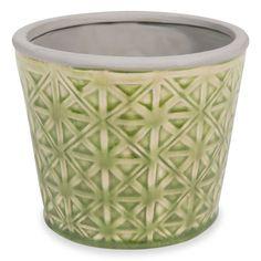 Cache pot en céramique verte H.12cm CALIENTE