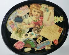 Victorian Themed Antiqued Decoupaged Black Painted Metal Tray