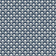 Stacked Scallops Navy Wallpaper Mermaid Scales | Etsy