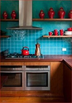 Turquoise & red kitchen