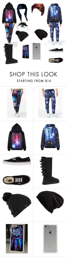 """""""Galaxy joggers/lazy day with babe"""" by grace-hobson ❤ liked on Polyvore featuring Univibe, Vans, UGG Australia, Burton, Free People and Incase"""