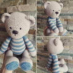There's never enough teddy bears! Variation with blue stripes...