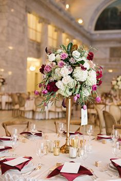 Fall Wedding in the Utah State Capitol Building, Tall Centerpieces with Hydrangeas, Dahlias, and Roses | Brides.com