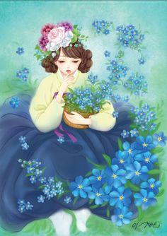 열두달의 꽃과 한복을 입은 열두명의 소녀.  소녀, 꽃 속에서 노닐다. 연작  2월의 탄생화 물망초. 꽃말은 '나를 잊지 말아요.'