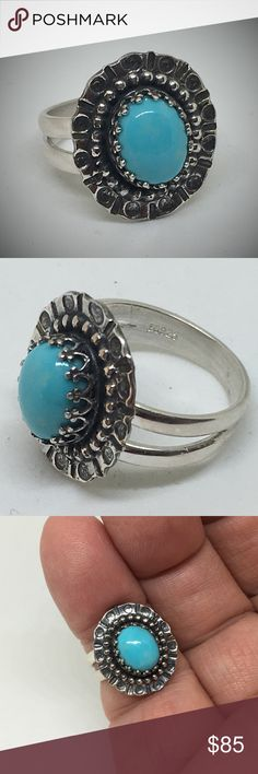 Genuine Sleeping Beauty Turquoise Ring Handcrafted This is a beautiful 10 x 8mm Sleeping Beauty Turquoise cabachon set in a hand crafted sterling silver setting. Made by me in my studio. I added patina to the setting to simulate old world age and enhance the Turquoise. Ring Size 7 designsbysteve Jewelry Rings