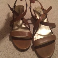 Moda low wedge strap heels Barely worn low wedges with brown leather straps. Moda International Shoes Wedges