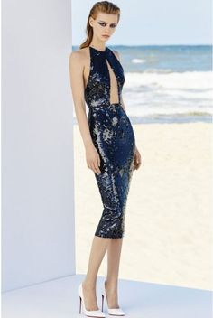 Alex Perry Navy Sequin Halter Alexa Lady Cutout CocktailDress | Poshare
