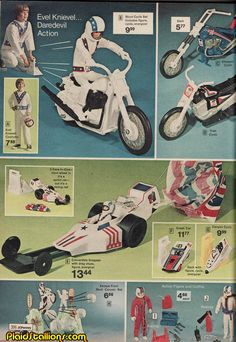 """JC Penney ad for Ideal Toys' Evel Knievel toy collection. I went with the Snake River Canyon """"Sky Cycle"""" rocket. Dented up all the baseboards in the house ramming that giant think into them. 1970s Toys, Retro Toys, My Childhood Memories, Childhood Toys, 1970s Childhood, Vintage Advertisements, Vintage Ads, Evel Knievel Toys, Old School Toys"""