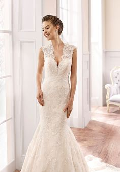 Eddy K Milano Style #MD155 - Mermaid style lace gown with wide illusion cap sleeves and keyhole back. by ADK Canada - Available at It's Your Day Bridal Boutique. 1661 Front Road, Lasalle, Ontario