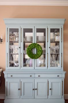 Annie Sloan Chalk painted hutch for the dining room with duck egg