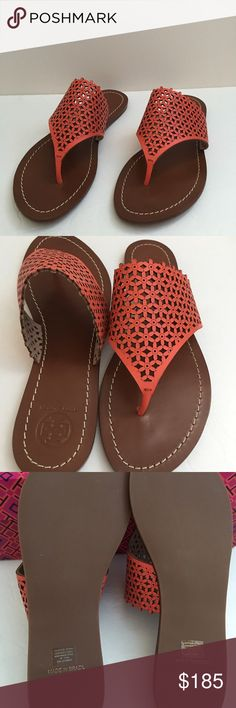 Tory Burch Floral Perforated Sandal Size : 7.5 Poppy coral color Perforated leather Insole with Stitched detail Rubber sole New with the box , but with no dust bag Tory Burch Shoes Sandals
