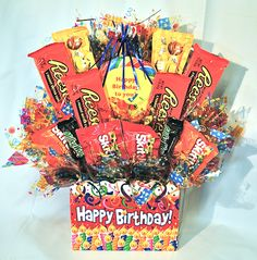 Happy Birthday Candy Bouquet. Purchase this item~ Visit  www.heartfeltcandygifts.com
