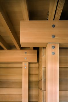 Image 10 of 27 from gallery of Creekside Residence / Bohlin Cywinski Jackson. Photograph by Nic Lehoux Detail Architecture, Timber Architecture, Building Architecture, Cladding Materials, Joinery Details, Steel Columns, Timber Structure, Wood Joints, Post And Beam