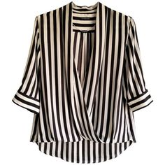 Pre-owned striped silk blouse (99 PAB) ❤ liked on Polyvore featuring tops, blouses, white, silk top, wrap blouse, striped tops, loose tops and white loose blouse