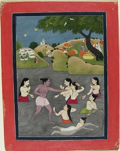 Krishna Swims with the Gopis. Opaque watercolor and gold on paper, India, Himachal Pradesh, Kangra?, ca. 1820